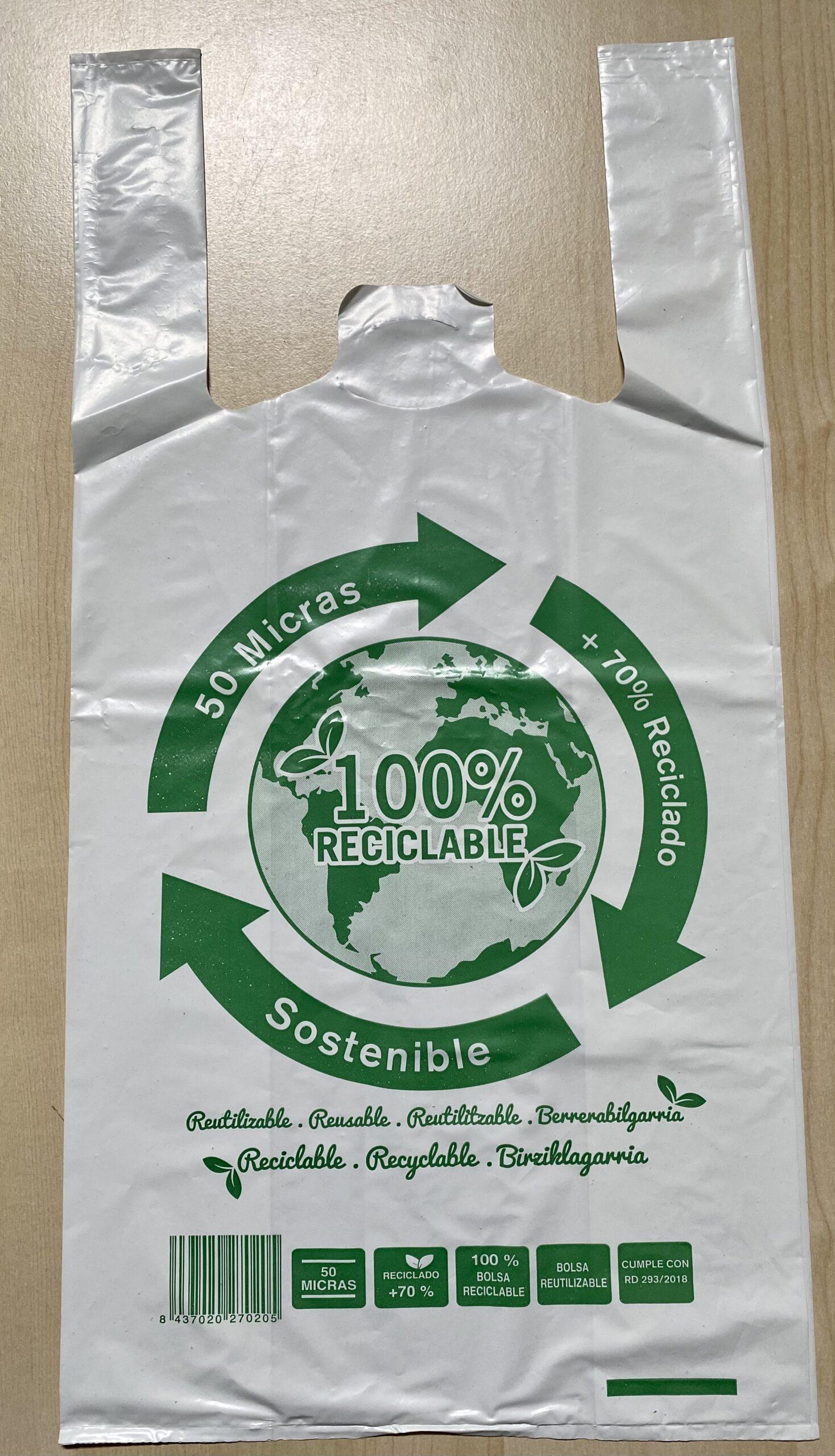 Bolsa Asa Reciclada 42*53 70% green